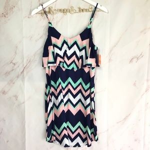 NWT Chevron West Loop Navy Green Pink White dress